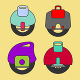 Self-Balancing Electric Unicycle  icons Royalty Free Stock Images