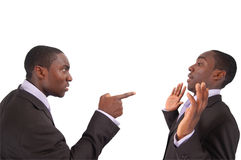 Self Blame. This is an image of business man arguing against himself. This represents Self blame, Accusation, Fault etc Royalty Free Stock Photo