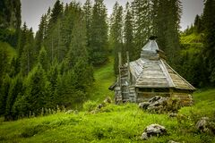 Self build old wooden shack above Oberiberg, Switzerland