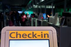 Self check in the airport stock photography