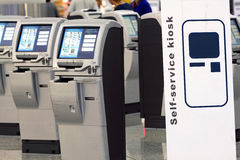 Self Check-in Machine. In Hong Kong Int'l Airport Royalty Free Stock Photo