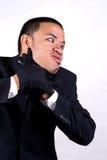Self choking. A man possess and self choking royalty free stock images