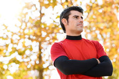 Self confidence idly man. Handsome sportsman idly with self confidence attitude. Man sport goals concept Stock Photo