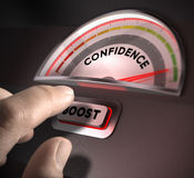 Self Confidence. Confidence indicator dial, index and boost button over a dark background. Illustration of self-confidence or esteem Stock Photography