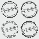 Self-confidence insignia stamp isolated on white. Self-confidence insignia stamp isolated on white background. Grunge round hipster seal with text, ink texture Stock Photography