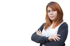 Self-confidence looking smart office women asian makeup colored hair. Self-confidence looking smart office woman asian makeup colored hair isolated with clipping stock images