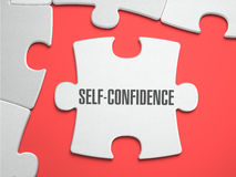 Self-Confidence - Puzzle on the Place of Missing. Self-Confidence - Text on Puzzle on the Place of Missing Pieces. Scarlett Background. Close-up. 3d Illustration Royalty Free Stock Photos