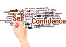 Self Confidence word cloud hand writing concept. On white background royalty free stock photo