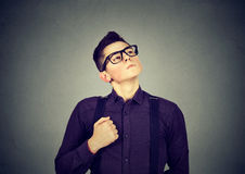 Self confident egocentric young man. Self confident egocentric nerdy young man Royalty Free Stock Image