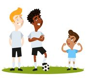 Self-confident short South American Cartoon soccer player in blue shirt attempting to intimidate unimpressed tall opponents. With aggressive pose isolated on vector illustration