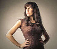 Self-confident woman. Looking in the distance Stock Photography