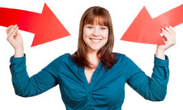 Self-Confident Woman. Presenting herself with arrows royalty free stock photography
