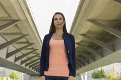 Self confident woman in urban environment Stock Images