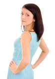 Self confident young woman. In blue dress Royalty Free Stock Image