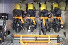 Self Contained Breathing Apparatus. With Compressed Air in Firefighter Truck stock image