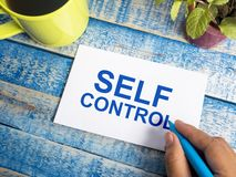 Self Control, Motivational Words Quotes Concept. Self Control, business motivational inspirational quotes, words typography lettering concept text self-control royalty free stock photo