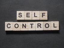 Self Control, Motivational Words Quotes Concept. Self Control, business motivational inspirational quotes, words typography lettering concept text self-control royalty free stock photos
