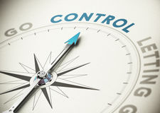 Self Control. Psychology concept. Compass needle pointing the word control with blue and beige tones Stock Image