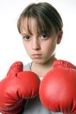 Self Defence. A young girl taking up boxing for self-defence Royalty Free Stock Photos