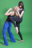 Self defence for women. Self defence classes for women on green background Royalty Free Stock Image
