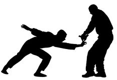 Self defense battle  silhouette illustration. Man fighting against aggressor with gun or pistol. Krav maga demonstration in real situation. Combat for life Stock Image