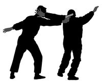 Self defense battle  silhouette illustration. Man fighting against aggressor with gun or pistol. Krav maga demonstration in real situation. Combat for life Stock Images