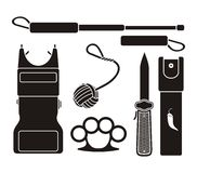 Self defense equipment - pictogram Royalty Free Stock Image