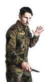 Self defense instructor with knife Royalty Free Stock Photos