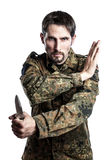 Self defense instructor with knife Royalty Free Stock Image