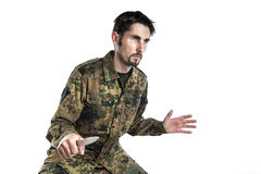 Self defense instructor with knife Stock Photos