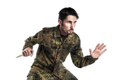Self defense instructor with knife Royalty Free Stock Photo