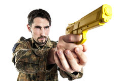 Self defense instructor with training gun Stock Photography