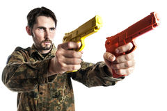 Self defense instructor with training gun Royalty Free Stock Photos