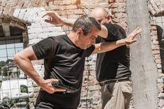 Self defense techniques against a gun Stock Photos