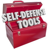 Self-Defense Tools Red Metal Toolbox 3d Words. Self-Defense words in 3d letters in a red metal toolbox to illustrate protecting yourself from crime, attack or Stock Image