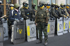 Self-defense. Ukraine Kiev during the revolution. People have organized themselves for self-defense Stock Photo
