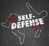 Self Defense Words Chalk Outline Body Defending Yourself Attack. Self Defense words on a chalk outline of a dead body or victim to illustrate the need to defend Royalty Free Stock Image
