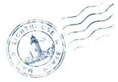 Stamp Lighthouse Beach Mail (Grunge design) Royalty Free Stock Photo