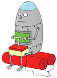 Self destruction tool. A fat robot sitting on a bomb for self destruction Stock Photography