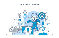 Self development. Growth finance and success work. Practice, start-up, leadership. Self development. Growth of finance and success on work. Training, education Stock Images