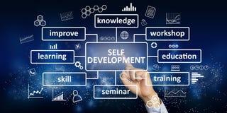 Self development, pesonal new business skills motivational inspirational quotes stock photos