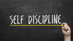 Self discipline concept. Hand writing self discipline inscription text on blackboard. Self discipline concept. Hand writing self discipline inscription text on stock photo