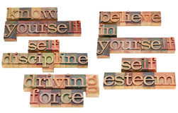Self discipline and driving force. Motivational concept -know yourself, believe in yourself, self discipline, self esteem and driving force - a collage of royalty free stock image