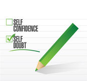 Self doubt check mark illustration Royalty Free Stock Images