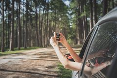 Self drive traveling concept royalty free stock photos
