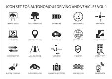Self driving and autonomous vehicles  icons. Royalty Free Stock Photos