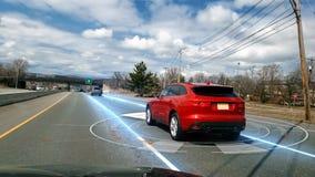Self Driving Autopilot Autonomous Car on the road 4K