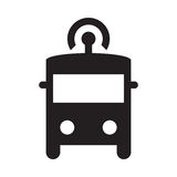 Self driving bus - Glyph Icon - Black. Self driving, connected, smart, autonomous, driverless bus Stock Photography