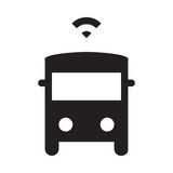 Self driving bus - Glyph Icon - Black. Self driving, connected, smart, autonomous, driverless bus Royalty Free Stock Photos