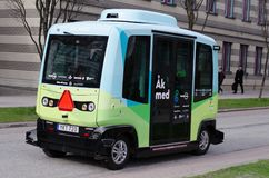 Self-driving bus stock photography